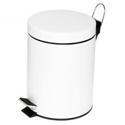 Tret-Abfalleimer, Inhalt 5 Liter, weiß, HxØ 285x205 mm, Deckelöffnung mit Pedalmechanik