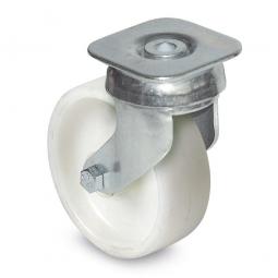 Lenkrolle Stahl verzinkt mit weißem Kunststoff-Rad, (PP) Rad-ØxB 100x34 mm, Tragkraft: 85 kg