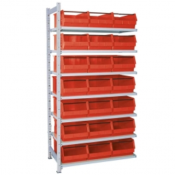 Anbauregal, verzinkt, HxBxT 2000x1035x515 mm, 7 Böden, 21 Sichtboxen LB 2T Farbe rot