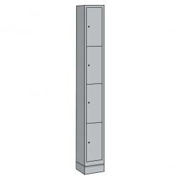 Stahl-Fächerschrank mit Sockel, 4 Fächer, HxBxT 1800x420x500 mm