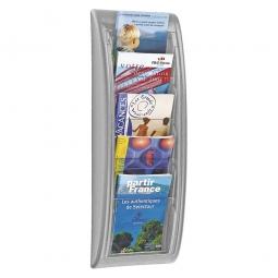 Wand-Prospekthalter DIN A4, alufarben, HxBxT 690x290x95 mm, mit 4 Klarsichtfenstern