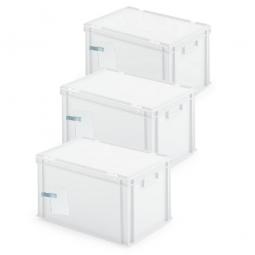 3x Ordner-Archivboxen, für je 7 Ordner (A4, breiter Rücken), inkl. Edelstahl-Zettelklemmer, staubsicher, weiß