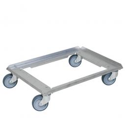 Alu-Transportroller für Kuchenblechkästen 660 x 460 mm, graue Gummiräder, Deck offen, Tragkraft 250 kg