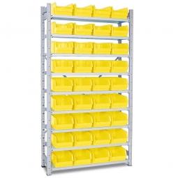 Steckregal, verzinkt, HxBxT 2000x1070x315 mm, 9 Böden, 36 Sichtboxen LB 3 Farbe gelb