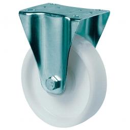 Transportgeräte-Bockrolle, Rad-ØxB 100x35 mm, Tragkraft 125 kg, weiß