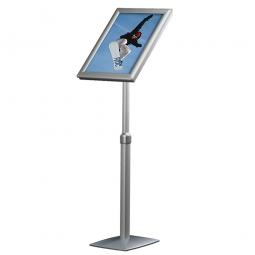 Info-Ständer mit Höhenverstellung, DIN A3, Plakatgröße BxH 297x420 mm, Hochformat, silber
