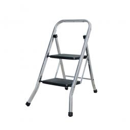 Klapptritt-Leiter aus Alu mit 2 Stufen, Arbeitshöhe bis 2456 mm, Standhöhe 456 mm