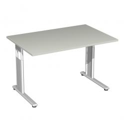 Schreibtisch ELEGANCE feste Höhe, Dekor Lichtgrau, Gestell Silber, BxTxH 1200x800x720 mm