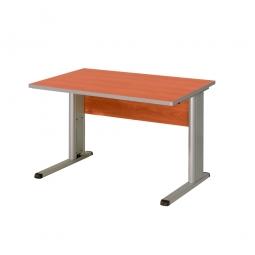 Schreibtisch mit C-Fußgestell, Farbe silber, Platte Kirsche, BxTxH 800x800x680-820 mm
