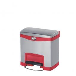 Tretabfalleimer SlimJim, 15 Liter, Edelstahl, rot, LxBxH 396 x 303 x 400 mm, Pedal an der Breitseite