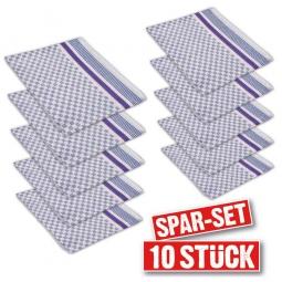10er-Set Grubentücher, LxB 900 x 500 mm, 100% Baumwolle, blau-weiß kariert