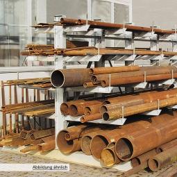 Kragarmregal, doppelseitige Ausführung, BxTxH 1000 x 400/600/800/1000/1200 x 2000 mm, Achsmaß 1000 mm