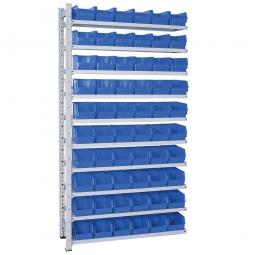 Anbauregal, verzinkt, HxBxT 2000x1035x315 mm, 10 Böden, 60 Sichtboxen LB 4 Farbe blau