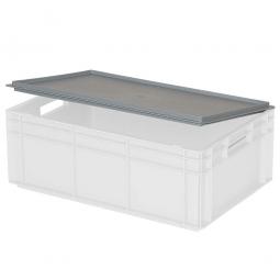 Scharnierdeckel für Euro-Stapelbehälter, LxB 600x400 mm, grau, Gewicht 900 g