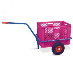 Handwagen mit Kunststoffkorb, H 410 mm, violett, LxBxH 1250 x 640 x 660 mm, Tragkraft 200 kg