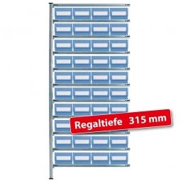 Fachbodensteck-Anbauregal, BxTxH 1000 x 315 x 2000 mm, 11 Böden, mit 40 Regalkästen LxBxH 300 x 234 x 140 mm, Farbe hellblau