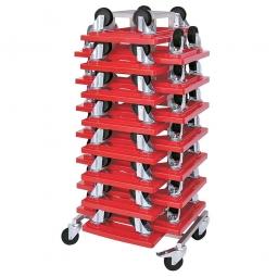Rollerständer mit 15 Transportrollern 600 x 400 mm mit schwarzen Kunststoffrädern, rot