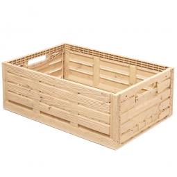 Klappbox im Holzdekor, geschlitzt, PP, LxBxH 600 x 400 x 220 mm, 45 Liter, beige