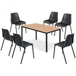 7-teiliges Tischgruppe-Komplettangebot, bestehend aus: 6 Schalenstühlen und 1 Tisch, BxTxH 1600 x 800 x 750 mm, Buche Dekor / schwarz