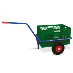 Handwagen mit Kunststoffkorb, H 320 mm, grün, LxBxH 1250 x 640 x 660 mm, Tragkraft 200 kg