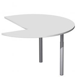 Dreiviertelkreis-Anbauplatte PREMIUM links, Lichtgrau/Silber, BxTxH 1200x1200x680-820 mm, höhenverstellbar