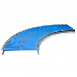Klein-Rollenbahnkurve: 45°, Innenradius: 800 mm, Bahnbreite: 300 mm, Achsabstand: 25 mm, Tragrollen Ø 20x1,5 mm