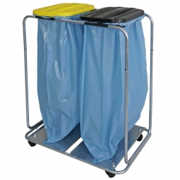 Leichter Wertstoffsammler,HxBxT 960x810x410 mm, Mit 2 Deckeln, eckig, fahrbar, für 2x 70 o. 120 Liter-Müllsäcke