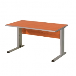 Schreibtisch mit C-Fußgestell, Farbe silber, Platte Kirsche, BxTxH 1200x800x680-820 mm
