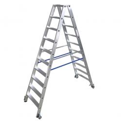 Alu-Stufen-Doppelleiter mit 2x 10 Stufen, fahrbar, Leiterhöhe 2350 mm, max. Arbeitshöhe 4100 mm, Gewicht 13,9 kg