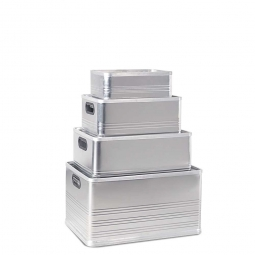 Aluminium-Kästen-Set D, je 1x 14, 29, 50, 79 Liter