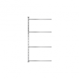 Fachboden-Steck-Anbauregal mit 4 Fachböden, glanzverzinkt, HxBxT 2000x1035x415 mm