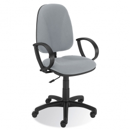"Bürodrehstuhl ""Economy"" mit Armlehnen, Polsterfarbe grau, 500 mm hohe Rückenlehne"