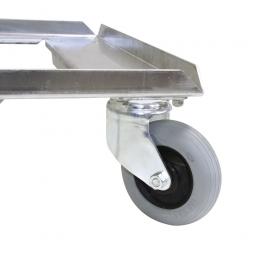 Aufpreis für Flüsterrollensatz Ø 100 mm mit verzinkten Radgabeln, für alle Aluminium- und Edelstahlroller