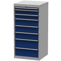 System-Schubladenschrank mit 8 Schubladen, BxTxH 600x575x1220 mm, lichtgrau/enzianblau