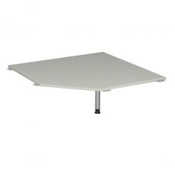 Verkettungsplatte, Fünfeck 90° Komfort, Gestell silber, Dekor lichtgrau, BxT 1225x1225 mm