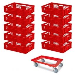 10x Euro-Stapelbehälter + 1 Transportroller GRATIS, Farbe rot, LxBxH 600 x 400 x 150 mm