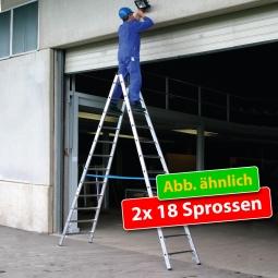 Alu-Sprossen-Doppelleiter mit 2x 18 Sprossen, Leiterhöhe 5030 mm, max, Arbeitshöhe 6700 mm
