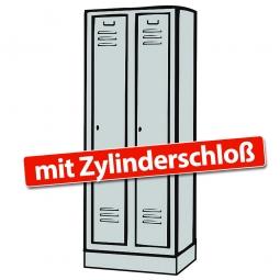 Kleiderspind mit Sockel und Zylinderschloss, 2 Abteile, HxBxT 1800x810x500 mm