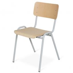 Stapelstuhl, Stahlrohrgestell lichtgrau, Kunststoffbeschichtet, Sitz und Lehne aus Buchenschichtholz