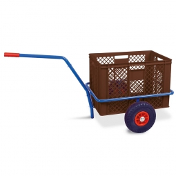 Handwagen mit Kunststoffkorb, H 410 mm, braun, LxBxH 1250 x 640 x 660 mm, Tragkraft 200 kg