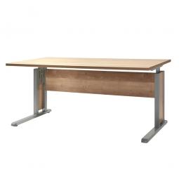 Schreibtisch mit C-Fußgestell, Farbe silber, Platte Wildeiche, BxTxH 1600x800x680-820 mm