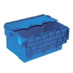 Mehrwegbehälter mit anscharnierten Deckeln, ALC64305, blau, LxBxH 600x400x305 mm