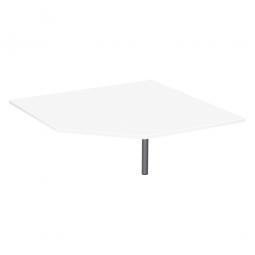 Verkettungsplatte ELEGANCE Fünfeck mit Stützfuß, Dekor Weiß, Gestell Silber, BxTxH 1225x1225x680-820 mm