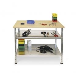 Arbeits- und Packtisch mit Arbeitsplatte, mit 2 Fachböden, BxTxH 1200 x 720 x 890 mm