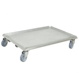 Alu-Transportroller für Stapelbehälter 800 x 600 mm, graue Gummiräder, Deck geschlossen, Tragkraft 250 kg