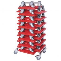 Rollerständer aus Edelstahl mit 15 Transportrollern 600 x 400 mm mit grauen Gummirädern, rot