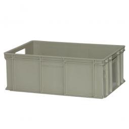 Eurobehälter, geschlossen, PE-HD, LxBxH 600 x 400 x 220 mm, 42 Liter, 2 Durchfassgriffe, lebensmittelecht, stapelbar, kieselgrau