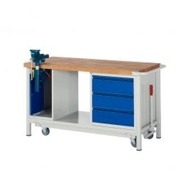 "Fahrbare Werkbank ""Profi"" mit Schraubstock + 3 Schubladen, Fahrbar, BxTxH 1500x700x880 mm"