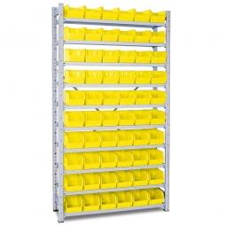 Steckregal, verzinkt, HxBxT 2000x1070x315 mm, 10 Böden, 60 Sichtboxen LB 4 Farbe gelb