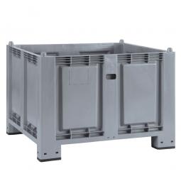 Palettenbox mit 4 Füßen, LxBxH 1200 x 800 x 850 mm, grau, Boden/Wände geschlossen, Tragkraft 500 kg